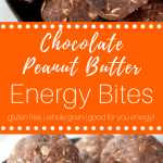 Chocolate Peanut Butter Energy Bites #glutenfreesnack #glutenfree #realfood #healthysnack #cleaneating #chocolate #glutenfreesnackrecipe #glutenfreewholegrain #glutenfreehealthysnack