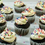 """Mini Chocolate Cupcakes with Vanilla """"Buttercream"""" Frosting"""