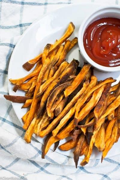 Thin-Cut Baked Sweet Potato Fries (gluten free, paleo, and vegan)