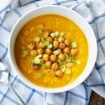 Cold Carrot Quinoa Soup with Chickpea Croutons