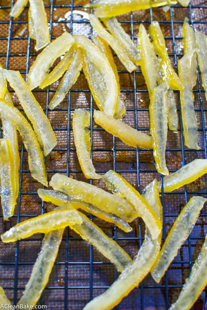 Naturally-Sweetened Candied Lemon Peel and Lemon Simple Syrup (NO refined sugar!)