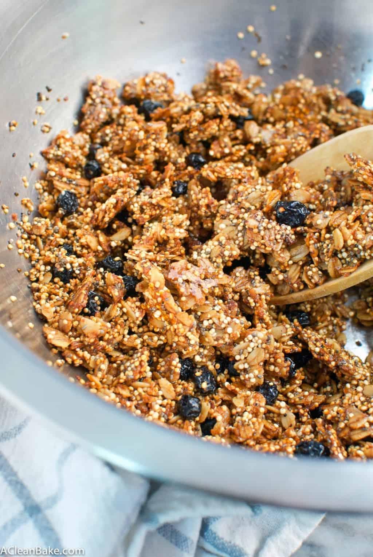 Blueberry Chia Quinoa Granola (gluten-free, vegan, refined sugar-free)