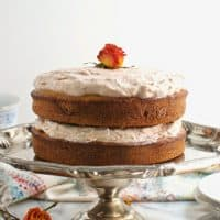 Gluten Free Vanilla Cake with Vegan Cherry Rose Buttercream Frosting
