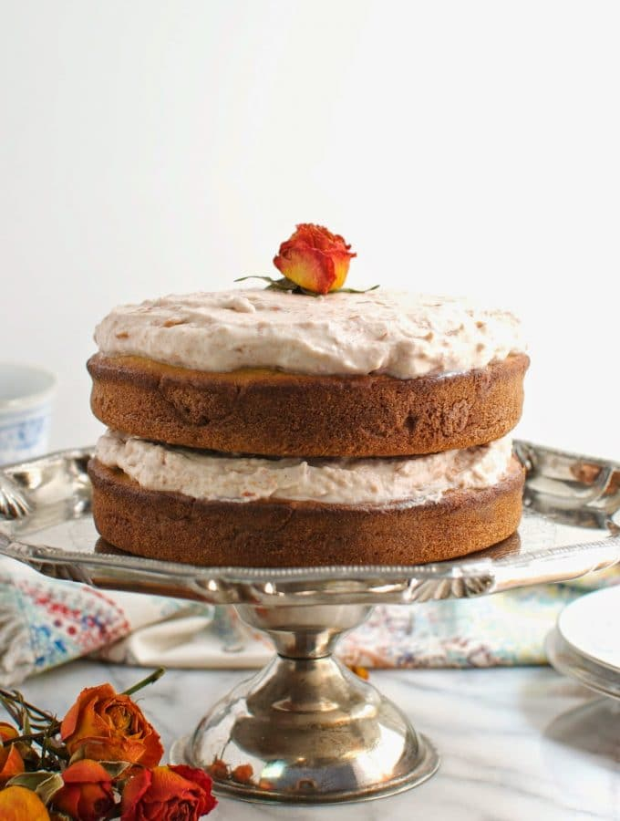 Gluten-Free Vanilla Layer Cake & Vegan Cherry Rose Frosting