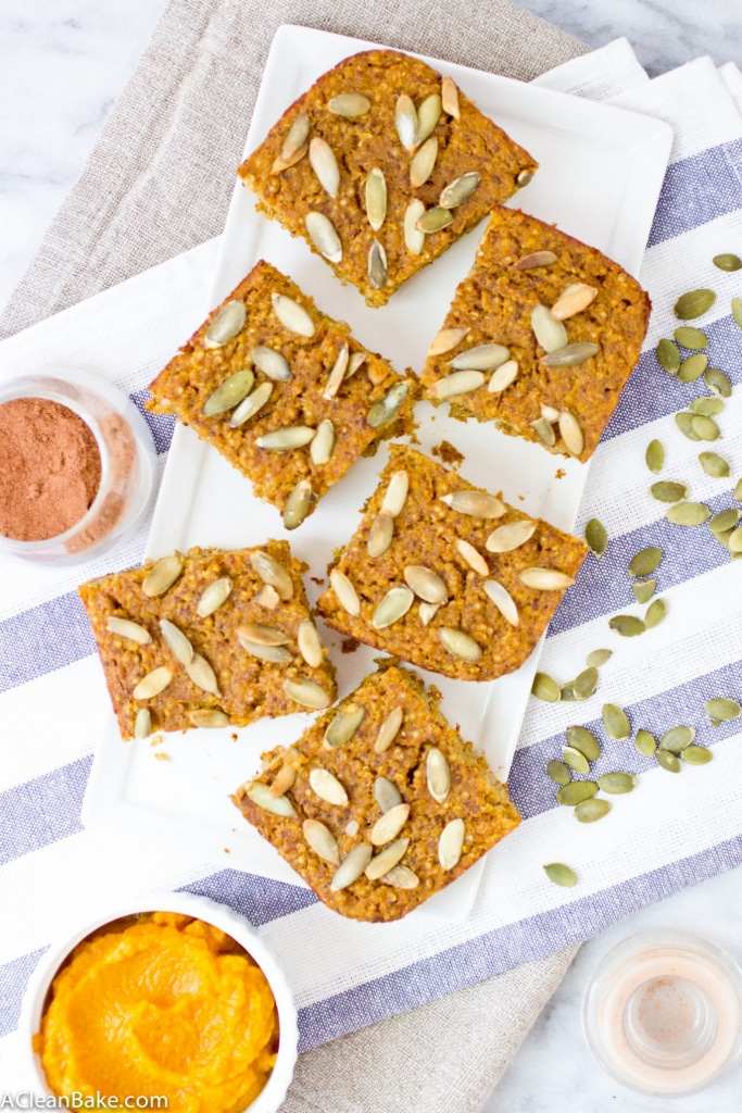 Time to upgrade your breakfast routine for fall! Start with these wholesome Pumpkin Baked Quinoa Bars (gluten free)!