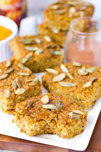 Pumpkin Baked Quinoa Bars (gluten free, whole grain, and vegan)