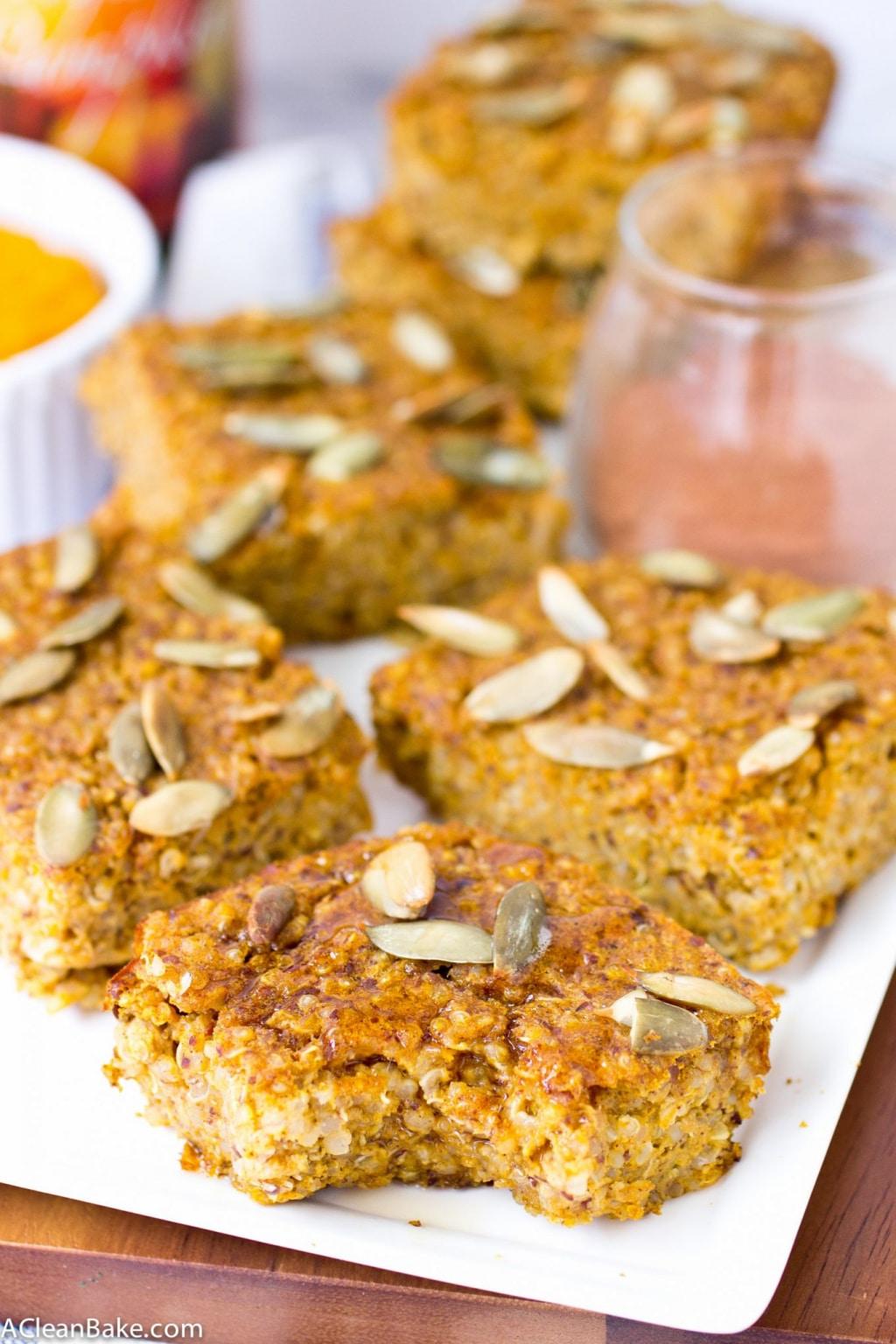 Pumpkin Baked Quinoa Bars (gluten free, whole grain, and vegan)