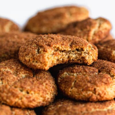 Pile of gluten free paleo snickerdoodles on a plate