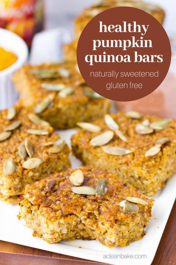 Healthy Pumpkin Quinoa Bars #glutenfree #glutenfreerecipe #glutenfreebreakfast #glutenfreesnack #wholegrain #wholegrainrecipe #wholegrainbreakfast #wholegrainsnack #naturallysweetened #highprotein #highproteinrecipe #kidfriendly #kidfriendlysnack #pumpkinrecipe #fallrecipe