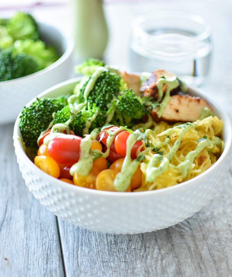"Paleo Spaghetti Squash ""Noodle"" Bowls with Spicy Chicken"