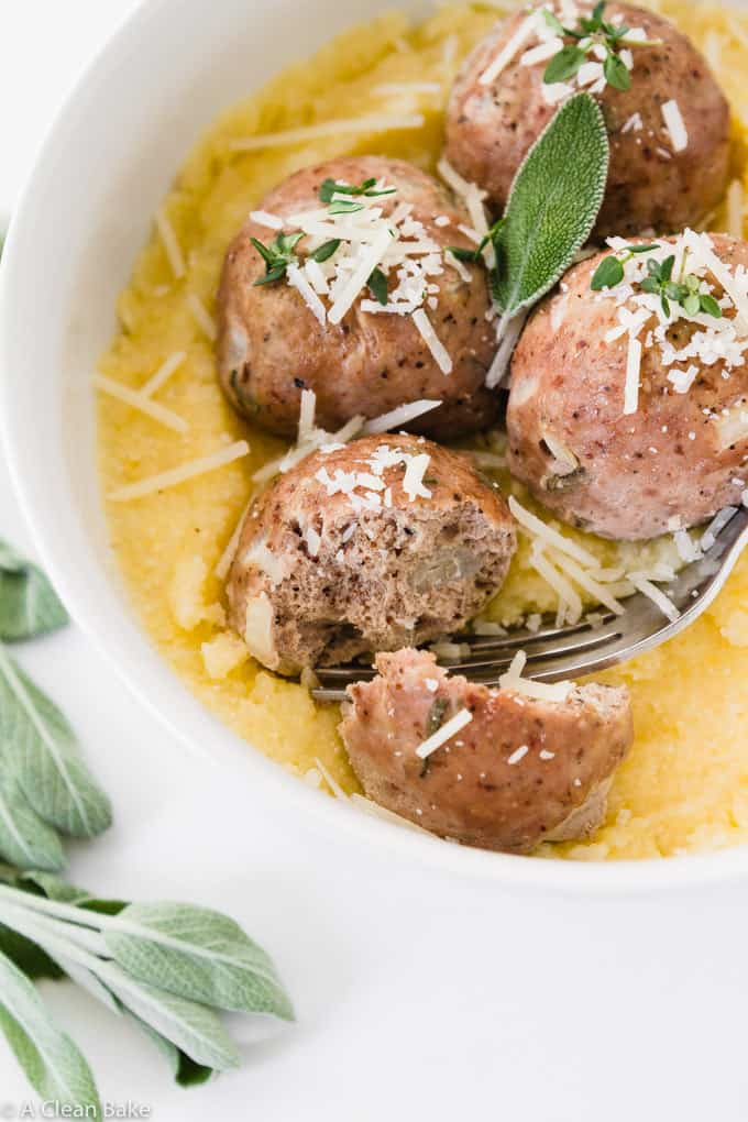 Paleo Turkey Meatballs with Sage (gluten free, Whole30)