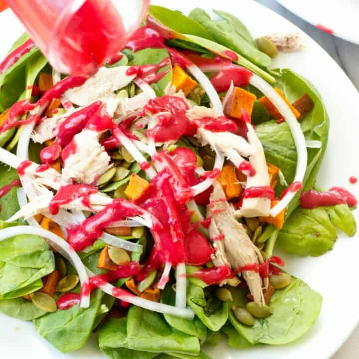 Turkey and Roasted Sweet Potato Spinach Salad with Cranberry Vinaigrette