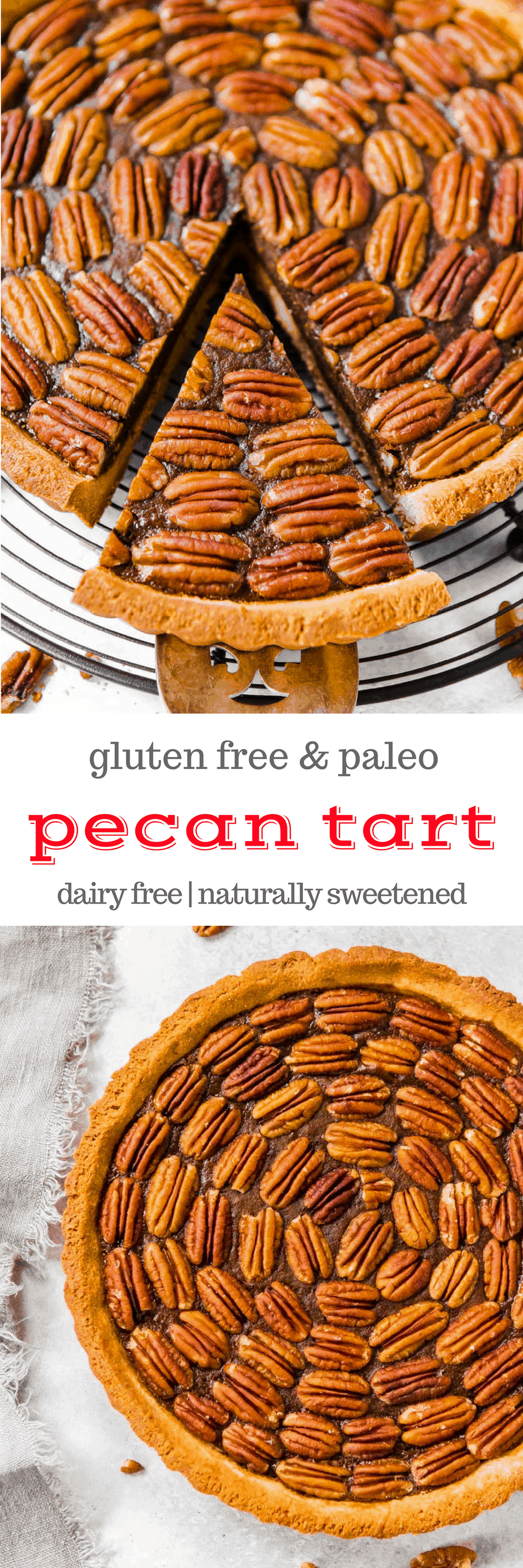 Gluten Free Pecan Tart is the perfect elegant #Thanksgiving or #Christmas #dessert! The delicious pastry is a cousin on the favorite pecan pie, and this #recipe is #glutenfree #paleo #dairyfree and #naturallysweetened