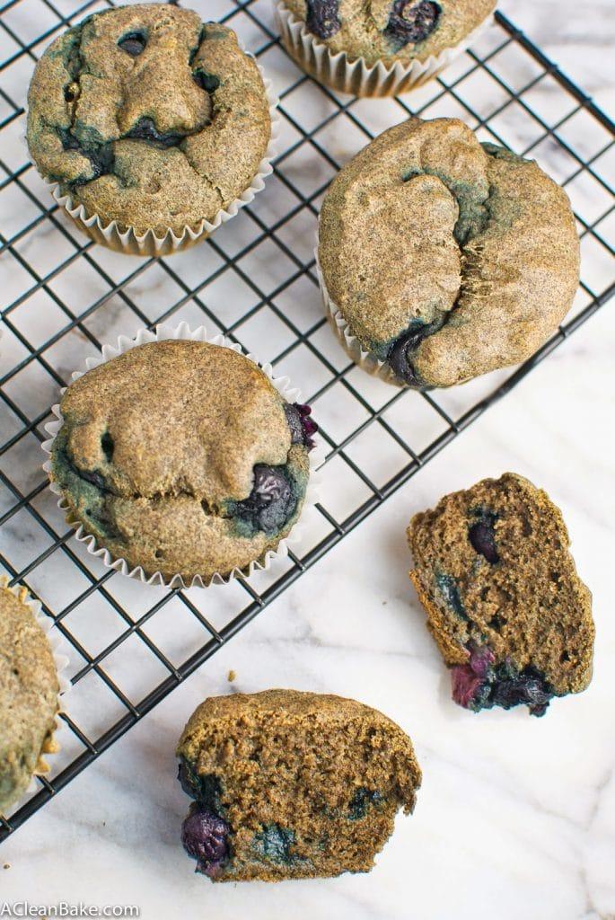 Clean Eating Gluten Free Buckwheat Blueberry Muffins