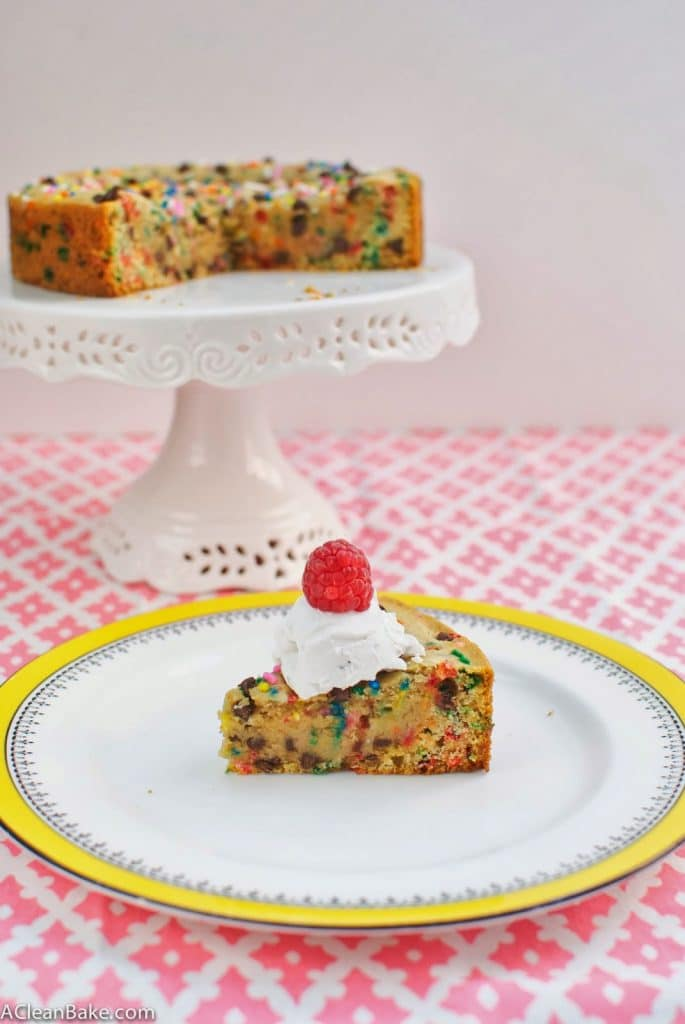 Clean Eating Gluten Free Deep Dish Chocolate Chip Cookie Cake