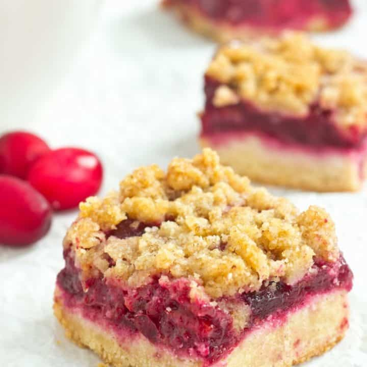 Grain Free Refined Sugar Free Cranberry Bars