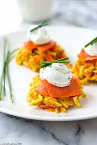 Mini Paleo Butternut Squash and Carrot Latkes