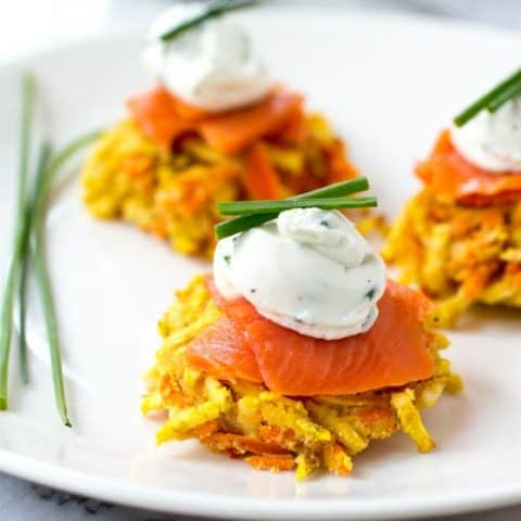 Sweet Potato and Carrot Latke-linis with Whipped Goat Cheese and Smoked Salmon