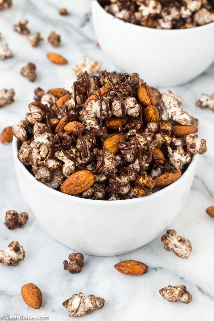 Spicy Chocolate Popcorn Snack Mix #glutenfree #vegan