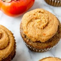 Olive Oil and Spice Cupcakes with Bourbon Persimmon Frosting #glutenfree #grainfree #paleo