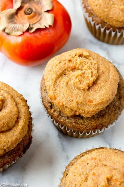 Olive Oil Spice Cupcakes with Bourbon Persimmon Frosting (gluten free and paleo)