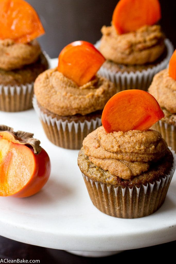 Grain-Free Olive Oil Spice Cupcakes with Bourbon Persimmon Frosting