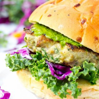 Mushroom and Kale Turkey Burgers with Kale and Cabbage Slaw