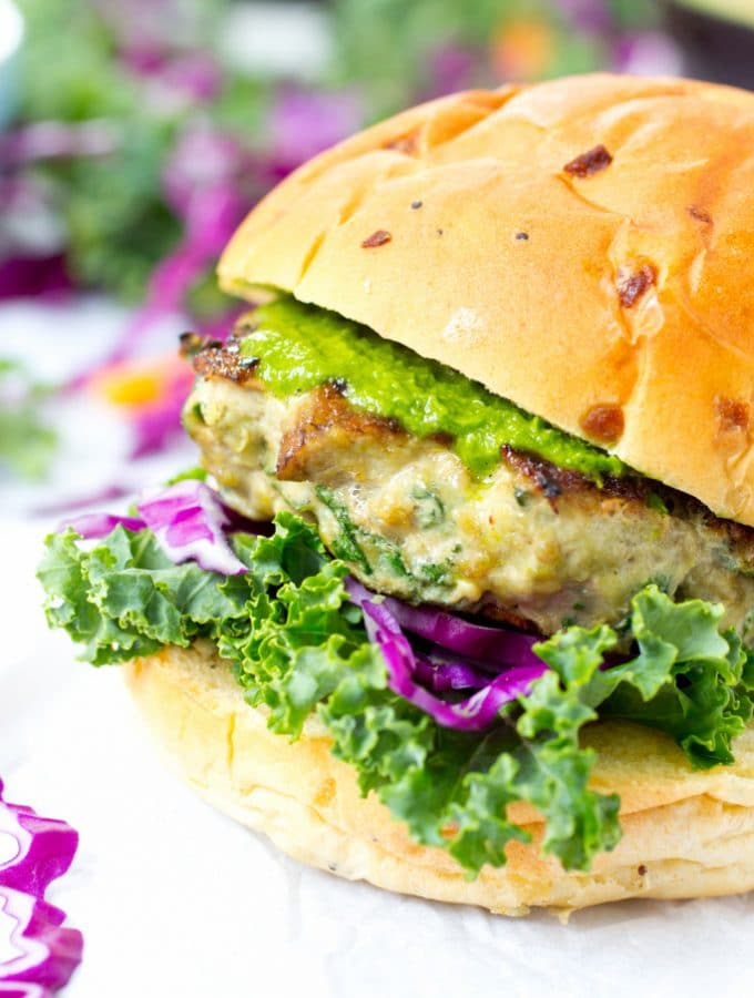 Portobello Mushroom and Kale Turkey Burgers with Cabbage Kale Slaw