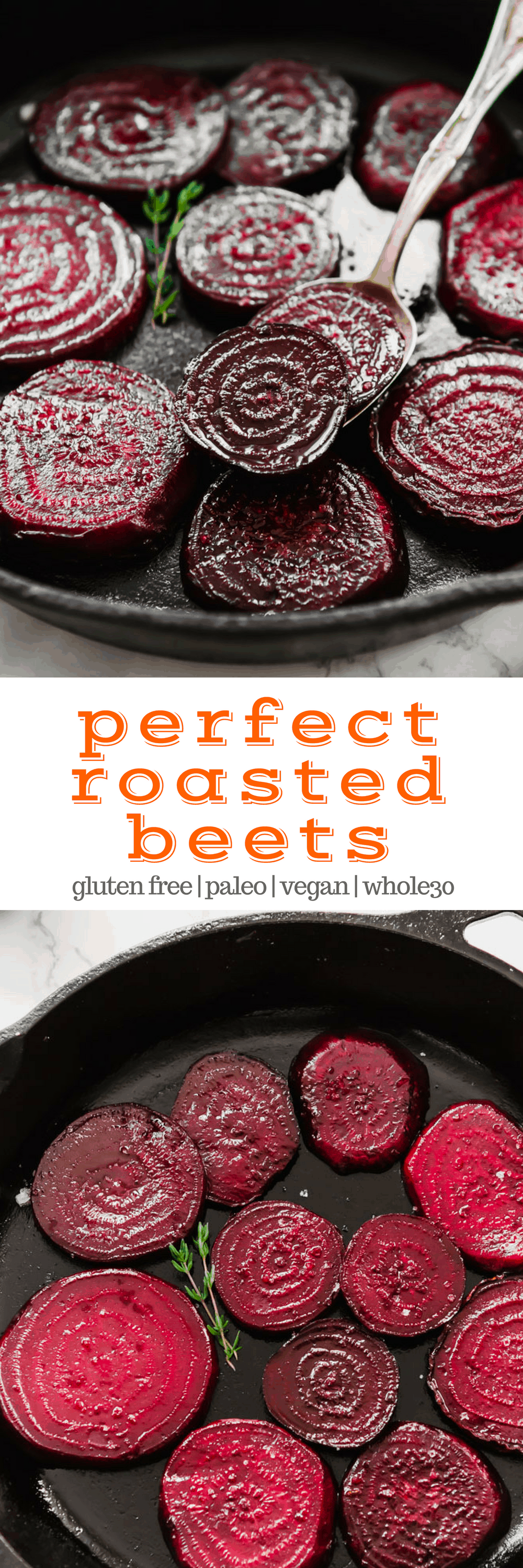 Properly roasted beets are a far cry from those soggy tasteless pink slabs that come in a can. Roasted beets are sweet, rich, tender, and an incredible addition to salads - or great on their own!