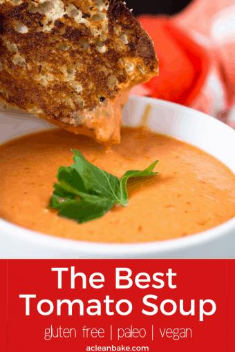The BEST creamy tomato soup - and it only takes 20 minutes to make! #vegan #veganfood #veganrecipes #veganmeal #vegandinner #glutenfree #glutenfreerecipe #glutenfreemeal #glutenfreedinner #lowcarb #healthymeal #healthyrecipes #healthydinner #paleo #paleorecipe #paleofood #paleomeal #paleodinner #easyrecipe #healthyrecipe #healthyrecipe