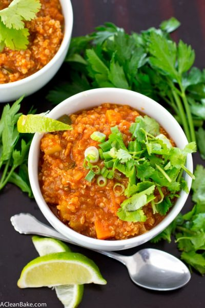 Pumpkin Quinoa Turkey Chili (gluten free, whole grain, paleo- or vegan-adaptable)
