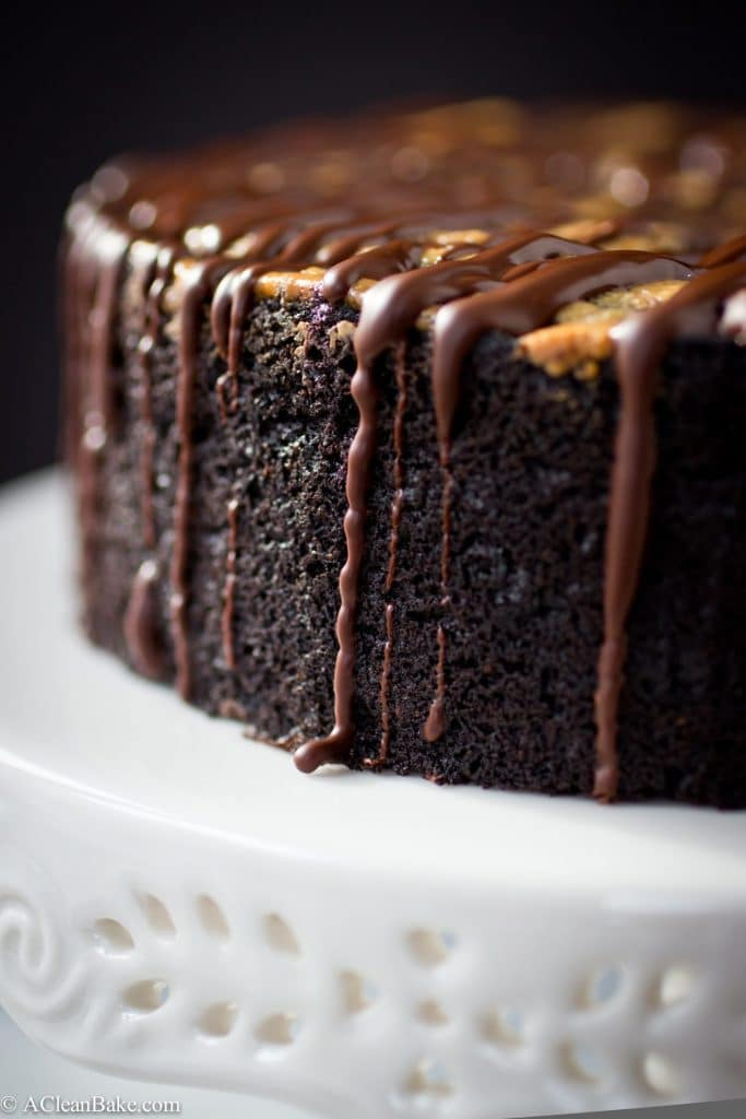 Paleo Deep Dish Dark Chocolate Cake with Almond Butter Swirl