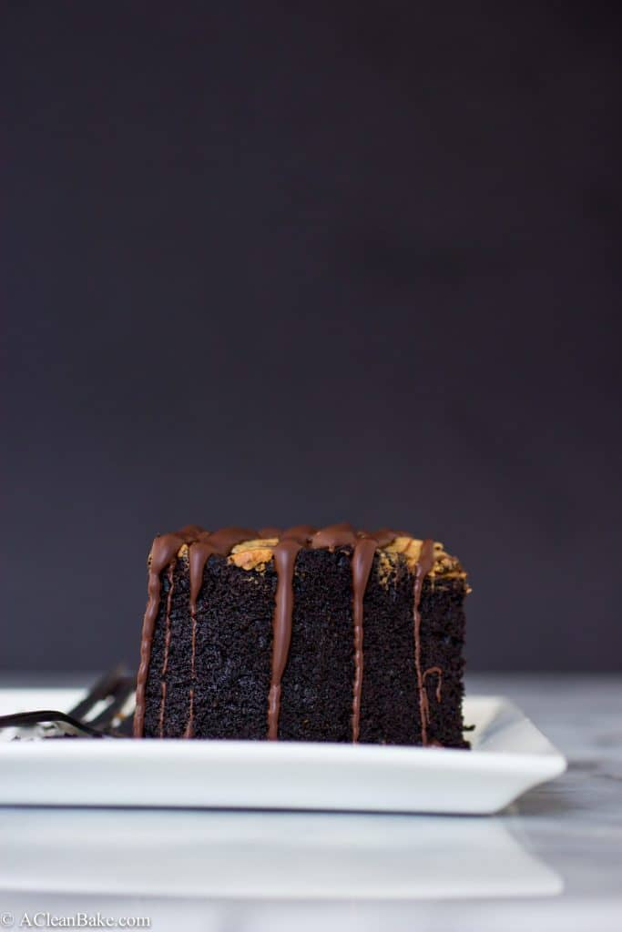 Paleo Deep Dish Dark Chocolate Cake with Almond Butter Swirl (Gluten-free, paleo)