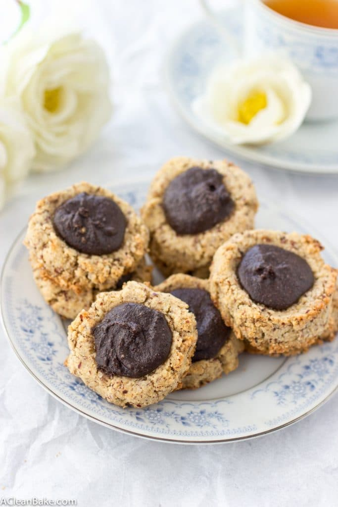 Paleo Chocolate Hazelnut Thumbprint Cookies