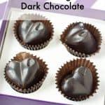 Box of homemade Sugar Free and Paleo Dark Chocolate in heart shapes