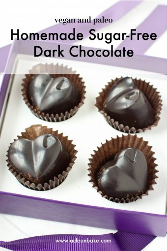 Box of homemade Sugar Free and Paleo Dark Chocolate in heart shapes