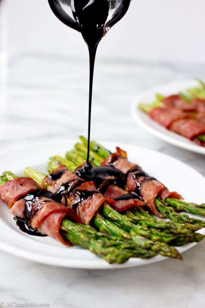 Bacon Wrapped Asparagus with Easy Homemade Lemon Balsamic Reduction