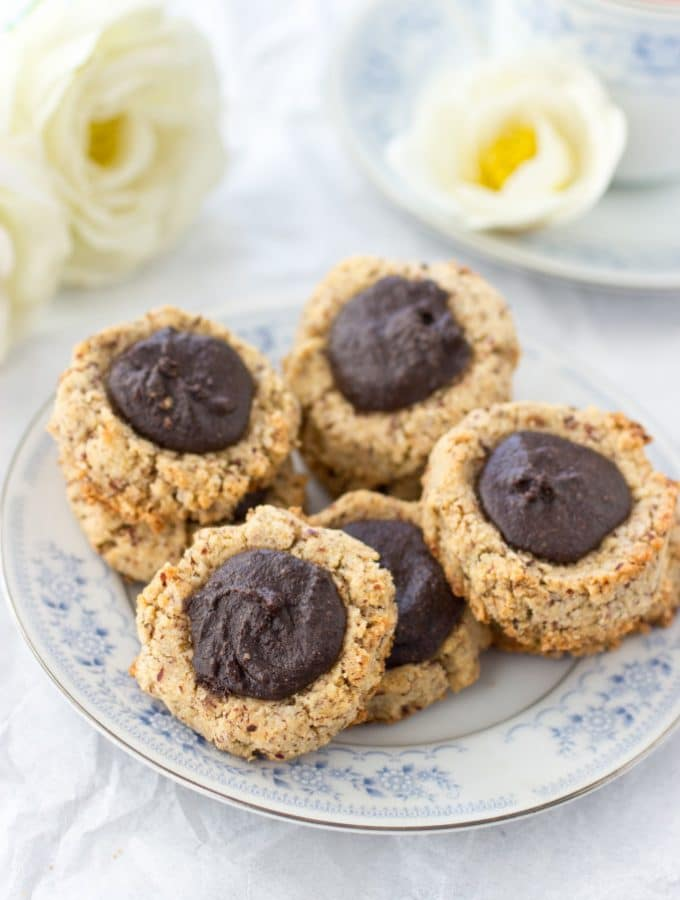 Chocolate Hazelnut Thumbprint Cookies