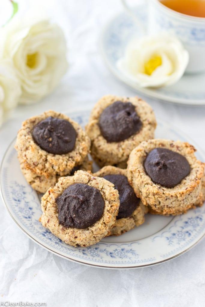 Chocolate Hazelnut Thumbprint Cookies (Gluten Free and Paleo)