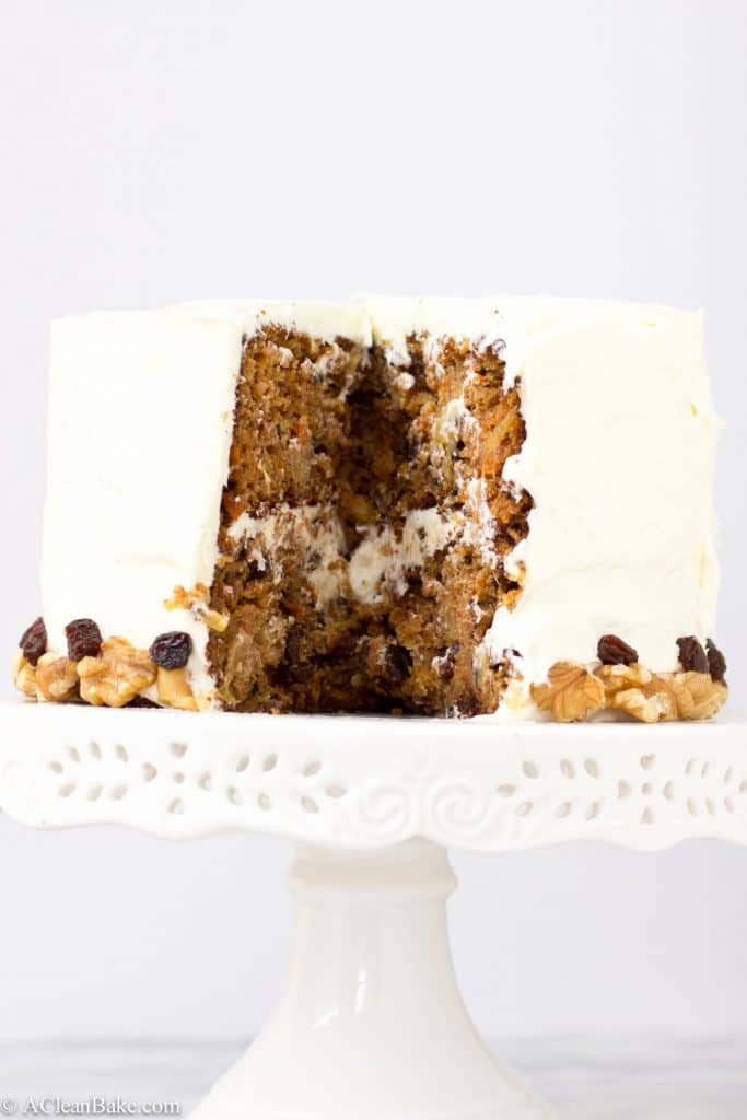 Classic grain free carrot cake that is bursting with flavor and grain-, gluten-, refined sugar-free too!