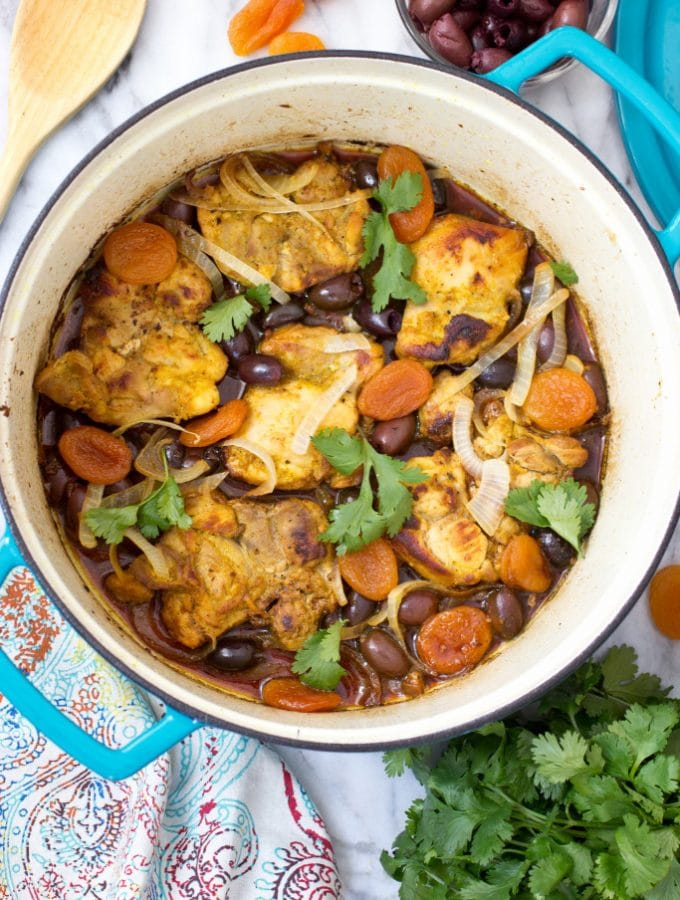 Braised Turmeric Chicken with Apricots and Olives