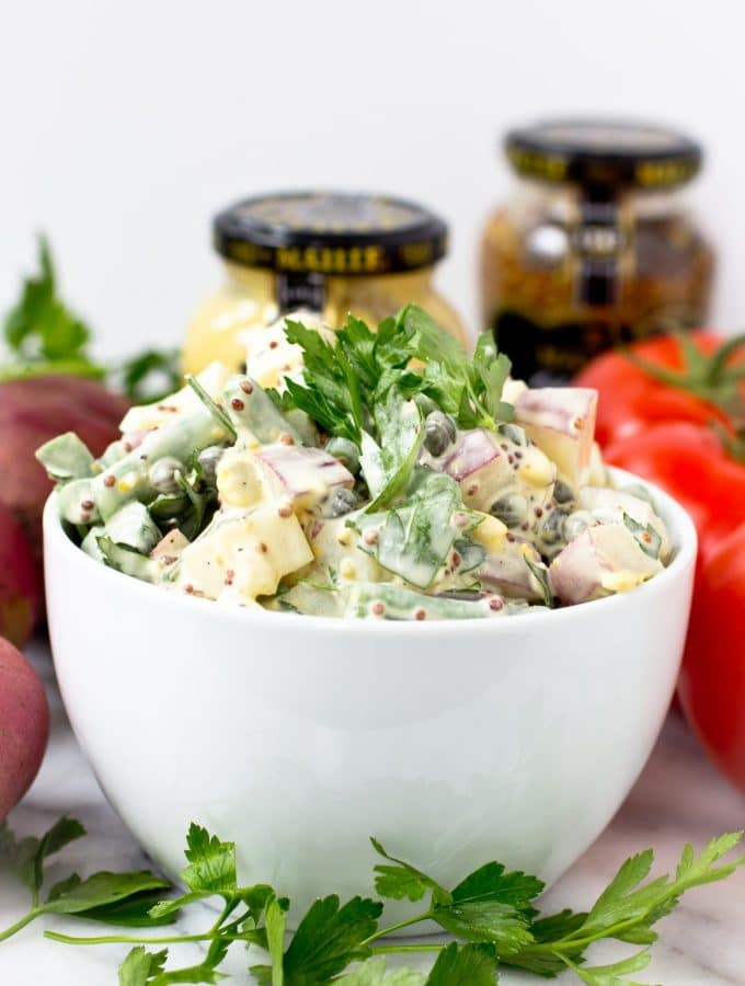 Potato Salad with Green Beans, Whole Grain Mustard and Capers