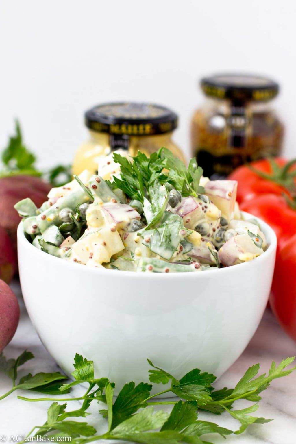 Potato Salad with Green Beans, Whole Grain Mustard and Capers (Gluten Free and Paleo)