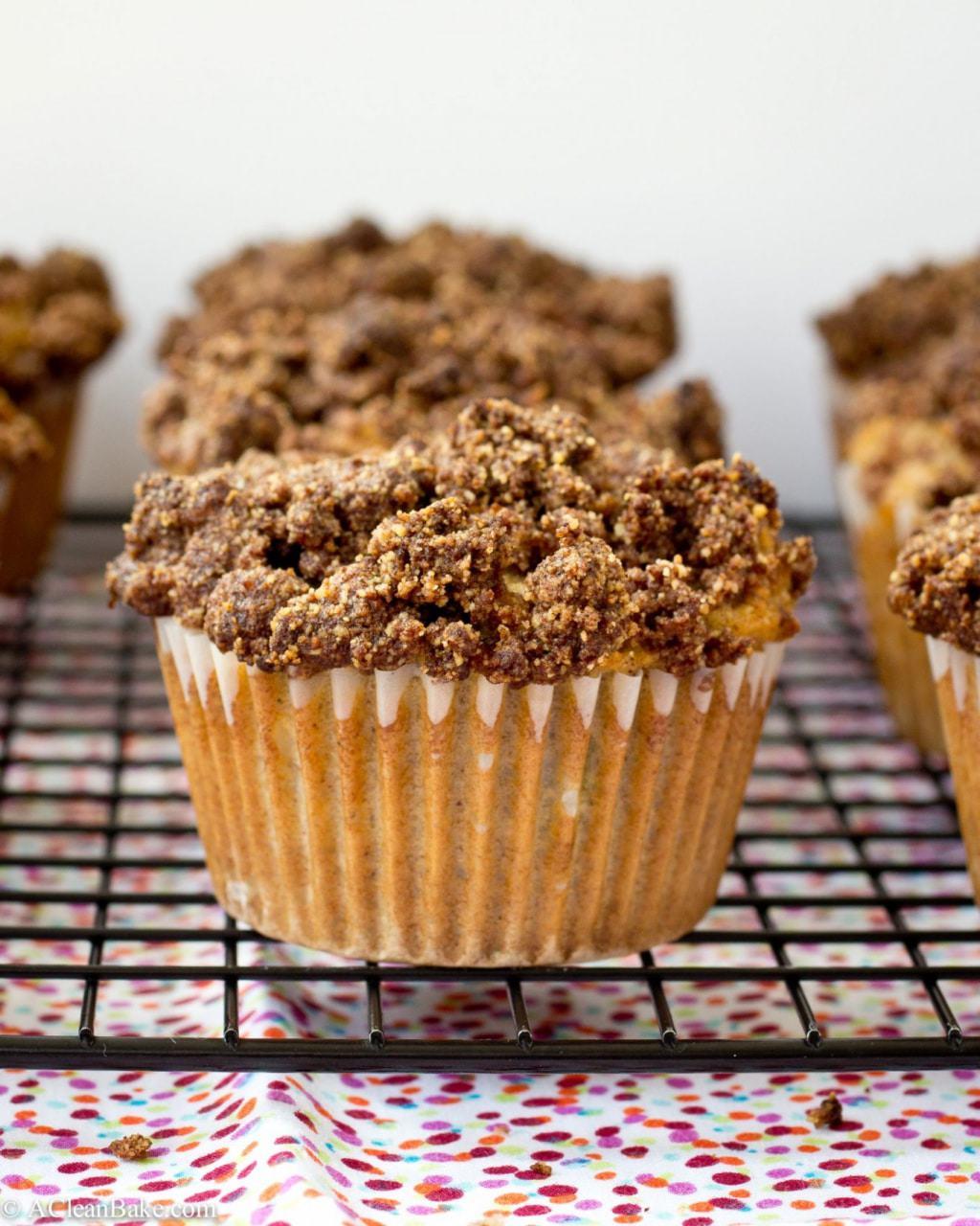 Rhubarb Coffee Cake Muffins (Gluten Free and Paleo)
