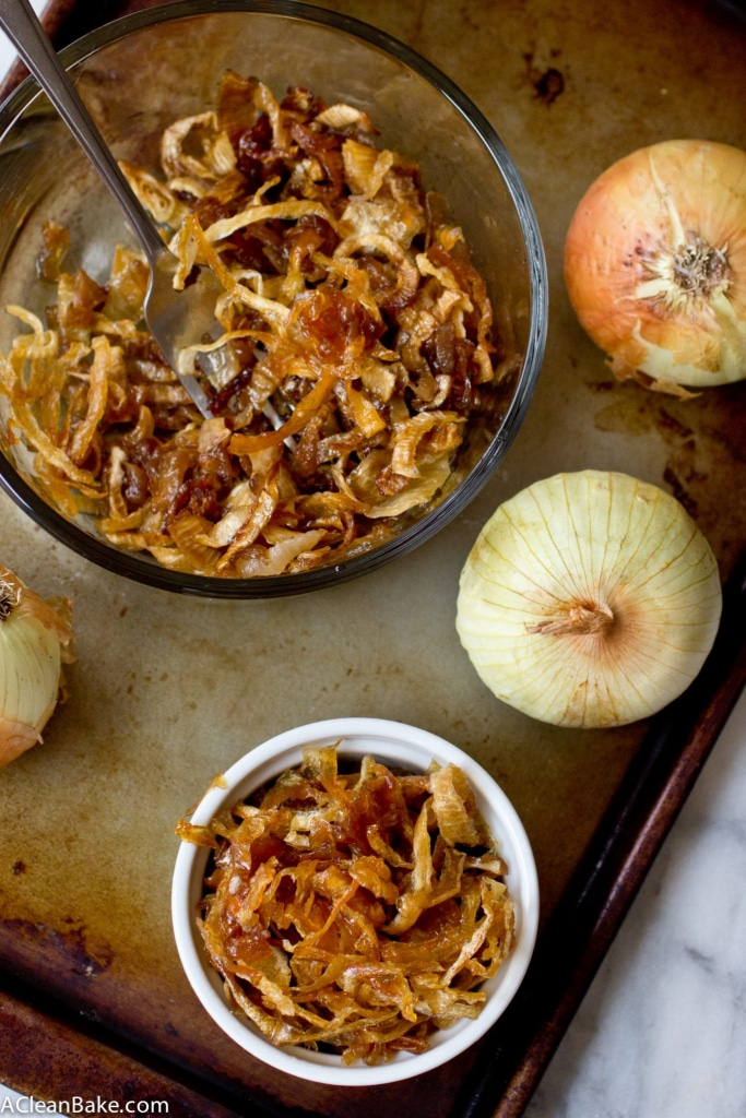Slow Cooker Caramelized Onions - your favorite burger topping made the easy, oven-free, hands off way!