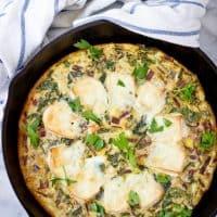 Baked Brie and Beet Greens Fritata