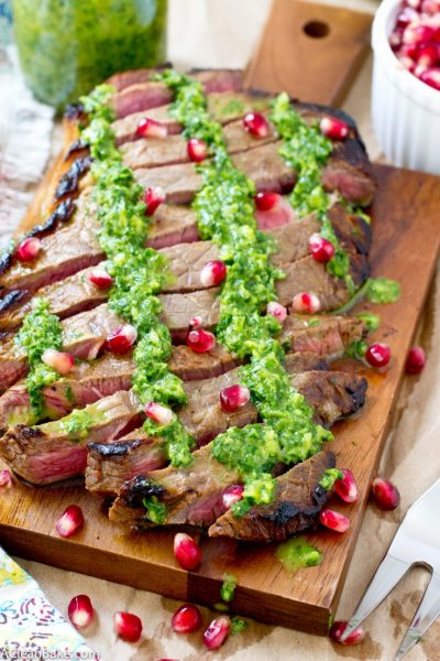 Flank Steak with Chimmichurri (Gluten Free and Paleo)
