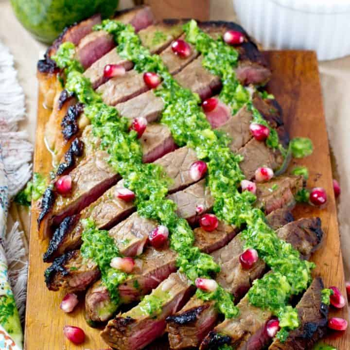 Marinated Flank Steak with Chimichurri and Pomegranate Seeds