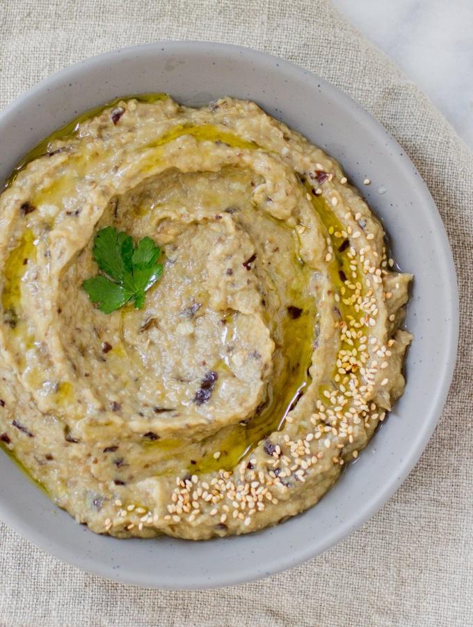 Roasted Garlic Babaganoush (Gluten Free, Paleo, and Vegan)