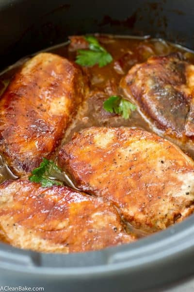 Crockpot Pork Chops with Apples and Onions (Gluten Free and Paleo)